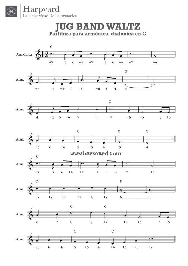 jug band waltz partitura armónica en C COUNTRY VALS HARPVARD